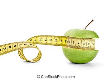 owoc, taśma, dieta, jabłko, jadło, zdrowy