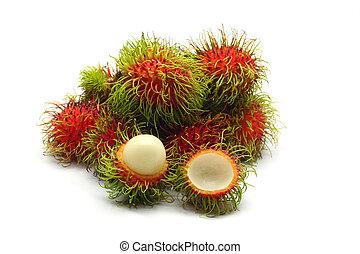 owoc, tropikalny, biały, rambutan, tło