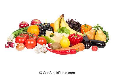 owoce, świeży, odizolowany, warzywa, biały