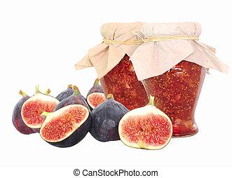 owoce, dżem, odizolowany, strój