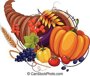 owoce, róg, liście, nóżki, warzywa, wektor, obfitość, jesień
