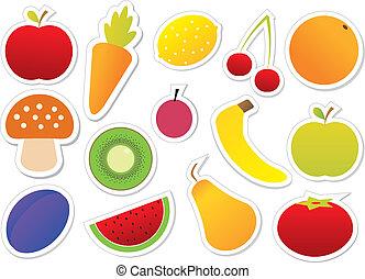 owoce, wektor, warzywa
