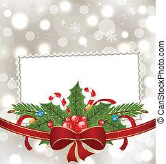 ozdoba, elegancki, święto, kartka na boże narodzenie