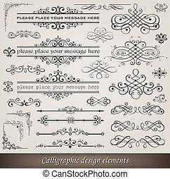 ozdoba, elementy, strona, calligraphic