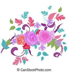 ozdoba, fantazja, rozkwiecony, twój, barwny, róże, projektować