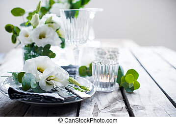 ozdoba, lato, ślub, stół