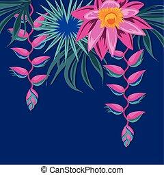 ozdoba, liście, kwiaty, egzotyczny