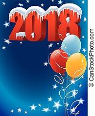 ozdoba, nowy, balony, rok