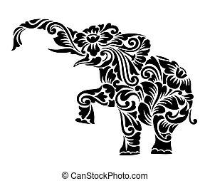 ozdoba, słoń, ozdoba, kwiatowy