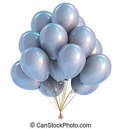 ozdoba, urodzinowa partia, biały, balony, srebro