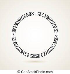 ozdoba, wektor, ułożyć, grek, ilustracja, okrągły