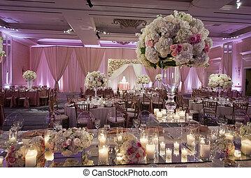 ozdobny, beautifully, sala balowa, ślub