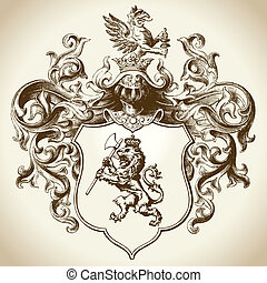 ozdobny, heraldyczny, emblemat