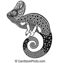ozdobny, wektor, ilustracja, kameleon