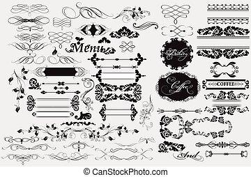 ozdoby, calligraphic, elementy, strona, projektować