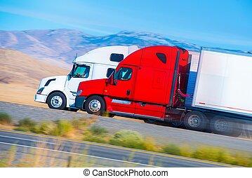 pół, dwa, ciężarówki, pędzenie