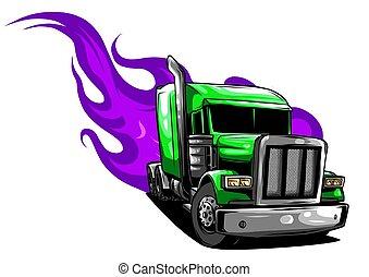 pół, ilustracja, wektor, projektować, truck., rysunek