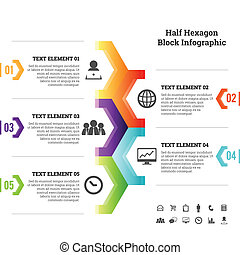 pół, infographic, kloc, sześciokąt