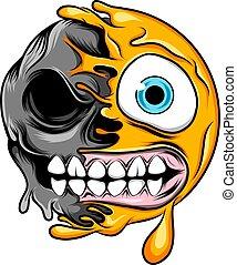 pół, potwór, czaszka, wielki uśmiech, emoticon