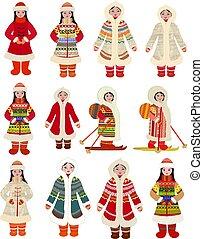 północny, obrazy, dziewczyny, zbiór, tradycyjny strój, narody, rysunek