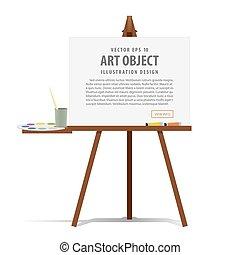 płótno, sztaluga, sztuka, prezentacja, ilustracja, wyposażenie, reklama, vector., malarstwo