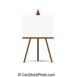 płótno, sztaluga, sztuka, przestrzeń, przedstawienia, reklama, vector., czysty, gotowy, twój