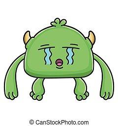 płacz, potwór, rysunek, chochlik, zielony