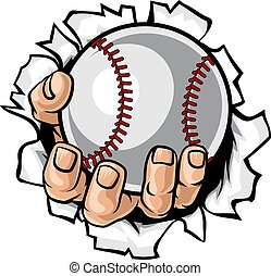 płakanie, baseball, tło, piłka, ręka