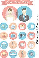 płaski, ślub, okrągły, ikony
