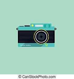 płaski, aparat fotograficzny, ikona