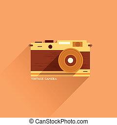 płaski, aparat fotograficzny, rocznik wina, ikona
