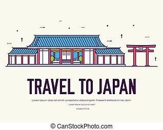 płaski, architecture., concept., japończyk, projektować, tło, japonia