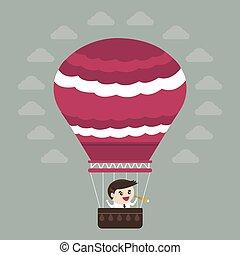 płaski, balloon, powietrze, gorący, projektować, biznesmen