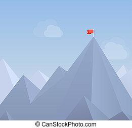 płaski, bandera, daszek, ilustracja, góra