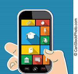 płaski, barwny, ruchomy, apps, icons., ręka, ludzki, wykształcenie
