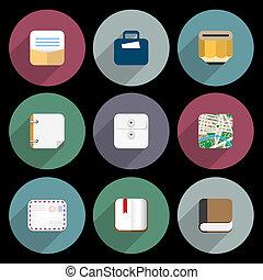 płaski, biurowe ikony, pozycje, handlowy, obiekty