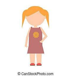 płaski, character., wektor, projektować, dziecko, dziewczyna, standing.