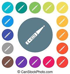 płaski, cyfrowy, ikony, okrągły, biały, termometr, kolor, tła