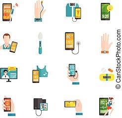 płaski, cyfrowy, zdrowie, ikony