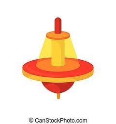 płaski, czerwona-pomarańcza, zabawka, whirligig, plastyk, dome., top., przędzenie, wektor, brzęczący, dzieci, przeźroczysty, ikona