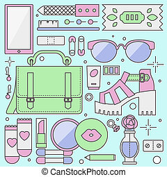 płaski, damski, fason, obiekty, ilustracja