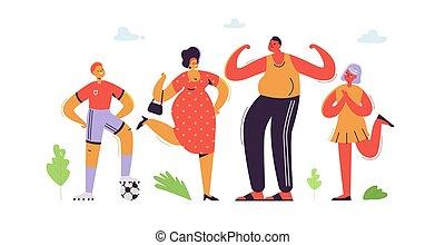 płaski, daughter., rodzina, ojciec, syn, ilustracja, cartoons., characters., wektor, rodzice, macierz, kids., szczęśliwy
