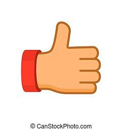 płaski, do góry, wektor, kciuki, style., ikona