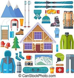 płaski, elementy, zima, wyposażenie, isolated., set., lekkoatletyka, uciekanie się, wektor, działalność, narciarstwo, snowboarding, ikona, narta, design.