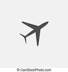 płaski, eps10, ilustracja, color., wektor, projektować, czarnoskóry, samolot, ikona