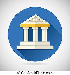płaski, finanse, wiedza, dom, sprawiedliwość, muzeum, nowoczesny, historia, ilustracja, symbol, wektor, projektować, tło, dziedziniec, szykowny, prawo, albo, bank, ikona