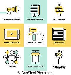 płaski, handel, cyfrowy, reklama, ikony