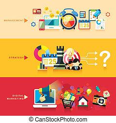 płaski, handel, strategia, projektować, cyfrowy, kierownictwo
