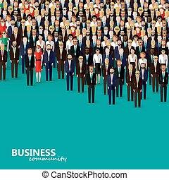 płaski, handlowa ilustracja, community., wektor, polityka, cr, albo