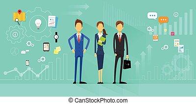 płaski, handlowy zaludniają, dyrektor, projektować, ludzki, drużyna, zasoby